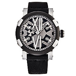 Romain Jerome Men's Steampunk Swiss Made Automatic Sapphire Crystal Leather Strap Watch