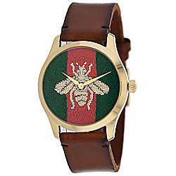 Gucci 38mm Swiss Made Quartz Logo Dial Brown Leather Strap Watch