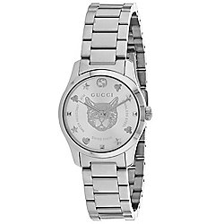 Gucci Women's Swiss Made Quartz Cat Design Dial Silver-tone Stainless Steel Bracelet Watch