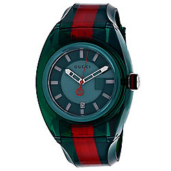 Gucci 46mm Swiss Made Quartz Date Red & Green Rubber Strap Watch