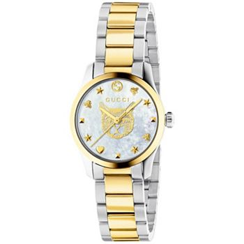 687-984 Gucci Women's Swiss Made Quartz Mother-of-Pearl Cat Design Dial Two-tone Bracelet Watch - 687-984