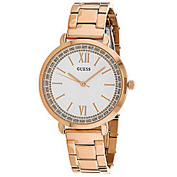 Guess Women's Swiss Glitter Accented Dial Rose-tone Stainless Steel Bracelet Watch
