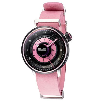 688-526 Bomberg Women's Swiss Made Quartz Sapphire Crystal Pink Leather Strap Watch