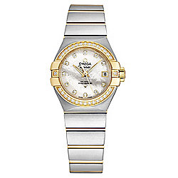 Omega Women's Constellation Swiss Made Automatic Diamond Accented White MOP Dial Bracelet Watch