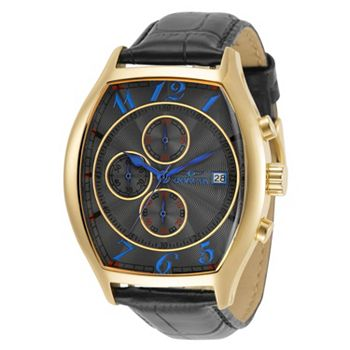 688-744 Invicta 43mm Tonneau Specialty Quartz Chronograph Date Watch w 3 Croco Embossed Leather Straps - 688-744