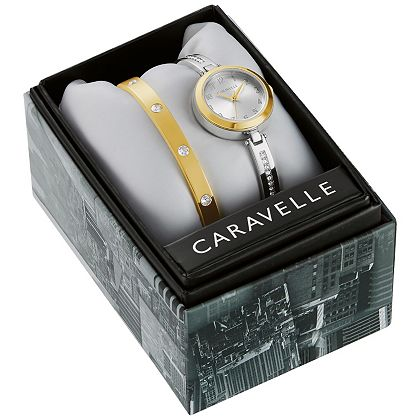 Web Exclusive Finds Items You Won't See On TV - 689-019 Caravelle Women's Quartz Crystal Accented Stainless Steel Bracelet Watch w Crystal Bangle