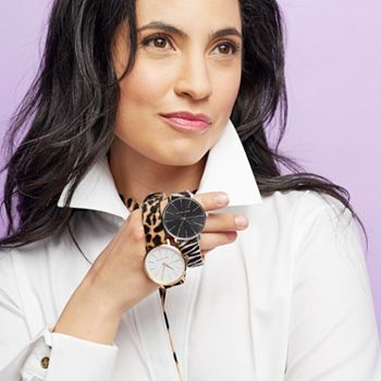 Ladies Lavish Watches Under $100 - 689-959 Michael Kors Women's 38mm Pyper Quartz Animal Print Calf Hair Leather Watch - 689-959