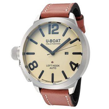 690-104 U-Boat Men's 53mm Classico Automatic Beige Dial Leather Strap Watch - 690-104