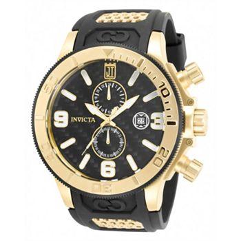 690-145 Invicta JT Men's 52mm Corduba Quartz Chronograph Carbon Fiber Black & Gold-tone Strap Watch - 690-145