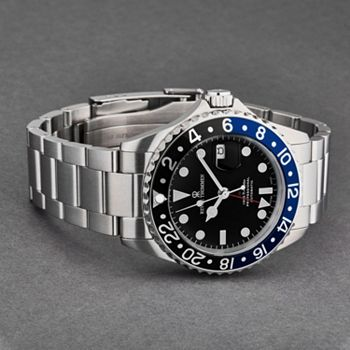 New Arrivals Don't Miss Out on the Lastest & Greatest - 693-051 Revue Thommen 42mm Swiss Made Automatic GMT Magnified Date Window Stainless Steel Bracelet Watch - 693-051