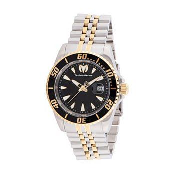694-582 TechnoMarine 42mm Manta Quartz Date Black Dial Two-tone Stainless Steel Bracelet Watch - 694-582