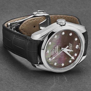 694-612 Omega Women's Seamaster Aqua Terra Swiss Made Automatic Diamond Accented MOP Dial Strap Watch - 694-612