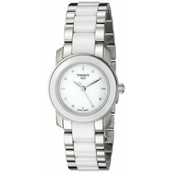 696-394 Tissot Women's T-Trend Swiss Made Quartz White Dial Stainless Steel & Ceramic Bracelet Watch - 696-394