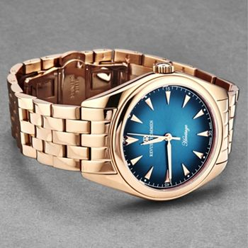 696-726 Revue Thommen 39mm Heritage Swiss Made Sellita SW200 Automatic Blue Dial Rose-tone Bracelet Watch - 696-726
