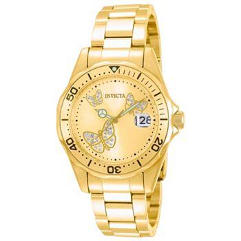 696-993 Invicta Women's Angel Quartz Date 3-Hand Butterfly Gold-tone Dial Stainless Steel Bracelet Watch - 696-993