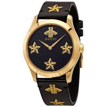 697-628 Gucci 33mm Swiss Made Quartz Black Leather Strap Watch - 697-628