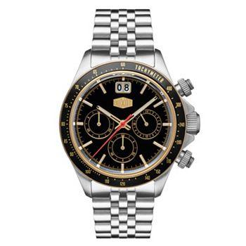 697-878 Duxot 40mm Accelero Quartz Chronograph Date Black Dial Stainless Steel Bracelet Watch (DX-2018-33) - 697-878