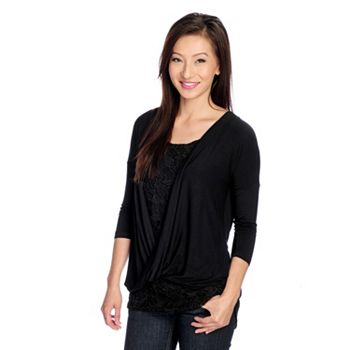 Pink & Red Fashion & Accessories - 721-017 Kate & Mallory® Knit 34 Sleeve Twist Front Draped Hi-Lo Top w Crochet Lace Tank - 721-017