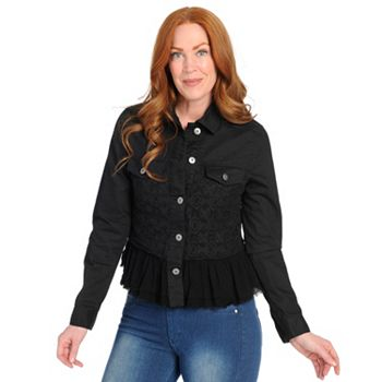 Blazers & Jackets  721-124 Kate & Mallory® Stretch Denim Long Sleeve Lace & Voile Detailed Jacket - 721-124