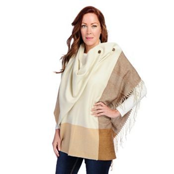 725-422 Harve Benard Brushed Twill Two-Button Fringe Detailed Convertible Wrap - 725-422