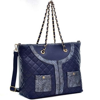 Fashion Doorbusters Stock Up on Savings - 728-343 Dasein Faux Leather & Quilted Gold-tone Chain Double Handle Shoulder Bag w Strap - 728-343