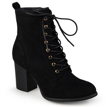 Journee Footwear Big Clearance Deals 733-778 Journee Collection Faux Suede Stacked Heel Lace-up Ankle Boots - 733-778