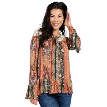Boho Chic - Starting Under $10 - 734-245 One World Printed Knit & Lace Long Sleeve Lace-up Tie- Neck Flounce Hem Top - 734-245