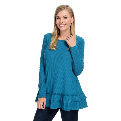 Once Only Shop Our Lowest Prices Ever - 734-874 OSO Casuals® Waffle Knit Long Sleeve Double Flounce Hem Top