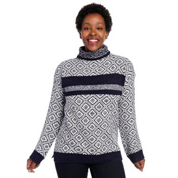 Fashion Steals Ft. New Markdowns - 737-884 OSO Casuals® Patterned Knit Long Sleeve Drop Shoulder Turtleneck Sweater - 737-884