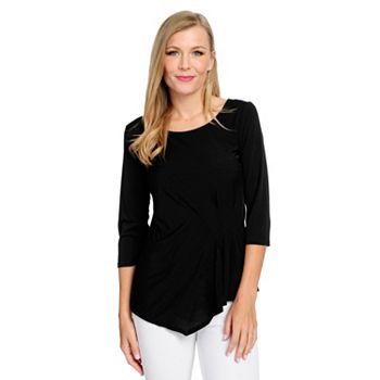 Fashion Last Chance On Styles Starting At $10.95 - 738-672 Kate & Mallory® Knit 34 Sleeve Scoop Neck Gathered Side Asymmetrical Top - 738-672