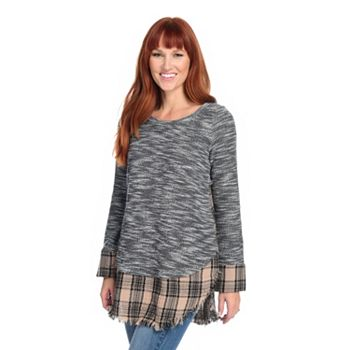 Deals Over 50% Off - Stock Up on Savings - 738-906 Indigo Thread Co.™ Heather Knit & Plaid Woven Long Sleeve Raw Edge Top - 738-906