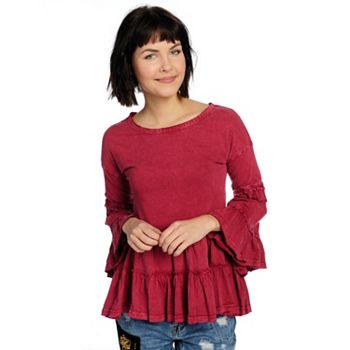 739-397 Indigo Thread Co.™ Knit Acid Washed 34 Bell Sleeve Crochet Trimmed Tiered Top - 739-397