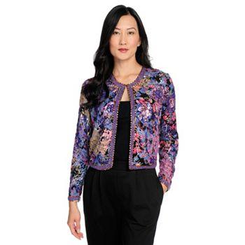 Velvet & Sequins Festive Fashion - 739-474 Indigo Moon Printed Woven Bead & Sequin Embellished Hook Front Jacket - 739-474