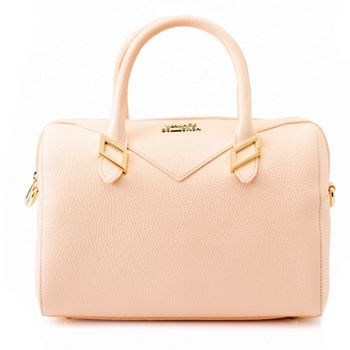 Fashion  739-958 Versace Collection Pebbled Leather Zip Top Barrel Satchel w Removable Strap - 739-958