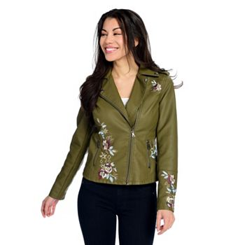Light Jackets Shop Seasonable Style - 740-202 Kate & Mallory® Embroidered Faux Leather 2-Pocket Asymmetrical Zip Moto Jacket - 740-202