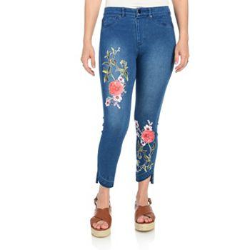 740-345 Kate & Mallory® Super Stretch Denim 3-Pocket Floral Decal Raw Edge Hem Cropped Jeans - 740-345