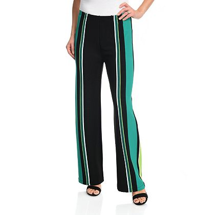 Lowest Prices Ever New Items Added Daily - 740-376 Marc Bouwer Striped Rib Knit Elastic Waist Boot Leg Pull-on Pants