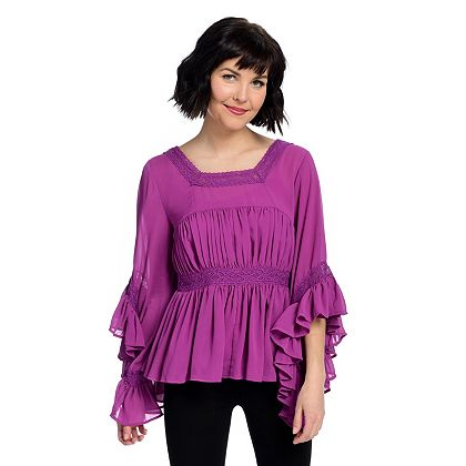 Lowest Prices Ever New Items Added Daily 740-379 Marc Bouwer Chiffon 34 Sleeve Square Neck Ruffled Top & Knit Tank Set