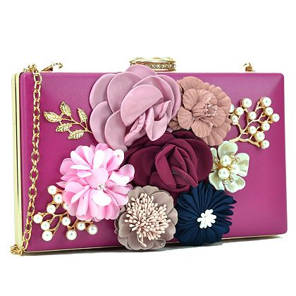 Handbag Sale & Clearance 740-420 Dasein Faux Leather Floral Embellished Framed Evening Clutch w Chain Strap