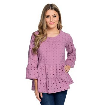 Clearance Starting At $9.95 Huge Discounts On Hot Styles - 740-514 OSO Casuals® Woven Eyelet 34 Ruffle Sleeve Round Neck Tiered Top - 740-514