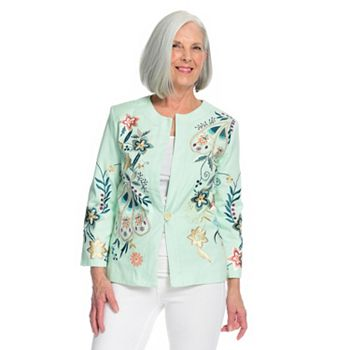 Statement Embellishments Our Top 2021 Spring Trend - 742-058 Indigo Moon Twill Woven Embroidered Button Front Collarless Jacket - 742-058