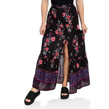 Dresses & Skirts  742-084 Band of Gypsies Printed Woven Elastic Waist Button Front Maxi Skirt - 742-084