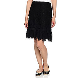 Karl Lagerfeld Paris Lace Zip Back Woven Lined Ruffled Hem Skirt