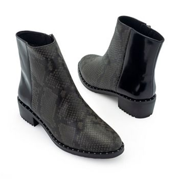 Footwear - 743-218 EMU Australia Roxby Snake Embossed Smooth Leather Water-Resistant Ankle Boots - 743-218