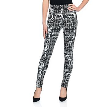 Leggings Loungeable Looks - 743-502 Marc Bouwer Printed Knit Elastic Waist High Rise Pull-on Leggings - 743-502