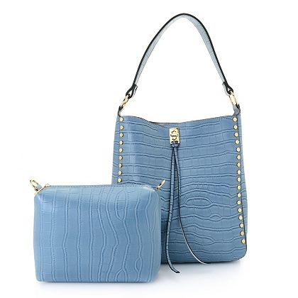 Customer Choice Fashion Shop Tried & True Styles - 743-524 Mellow World Croco Croco Embossed Shoulder Bag w Pouch & Strap