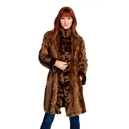 Winter Fashion - Encore Final Day to Save Up to 60% - 743-530 Donna Salyers' Fabulous-Furs Faux Fur Cascade Front Broadtail Stroller Coat