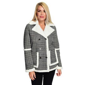 Outerwear - 743-602 CoffeeShop Patterned Faux Wool & Faux Fur Double Breasted 2-Pocket Coat - 743-602