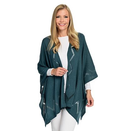 Lowest Prices Ever - 743-638 Harve Benard Knit Open Weave Ruana Wrap w Zigzag Detail