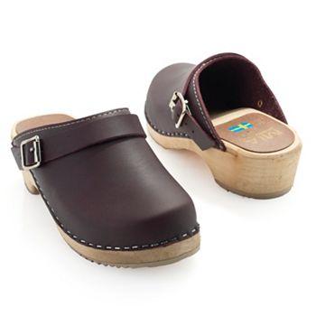 Fab Footwear Transition Seasons in Style - 743-763 MIA Alma Leather Buckle Detailed Wood Heel Slip-on Clogs - 743-763
